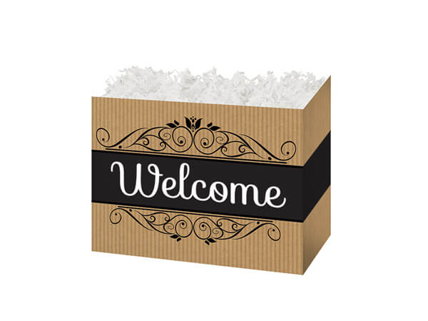 "Welcome Kraft Stripes Basket Boxes, Small 6.75x4x5"", 6 Pack"