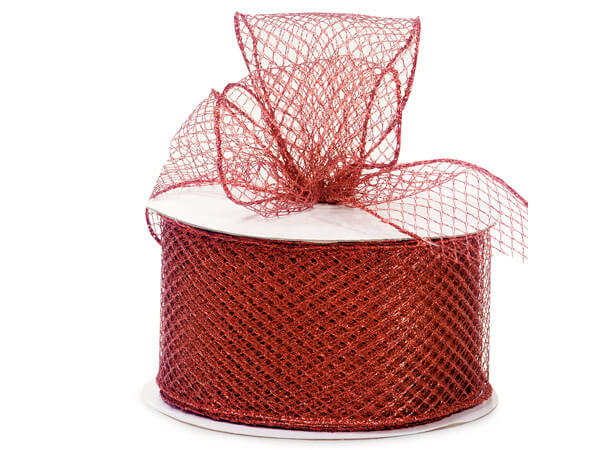 "Red Diamond Pattern Mesh Wired Ribbon, 2-3/4""x25 yards"