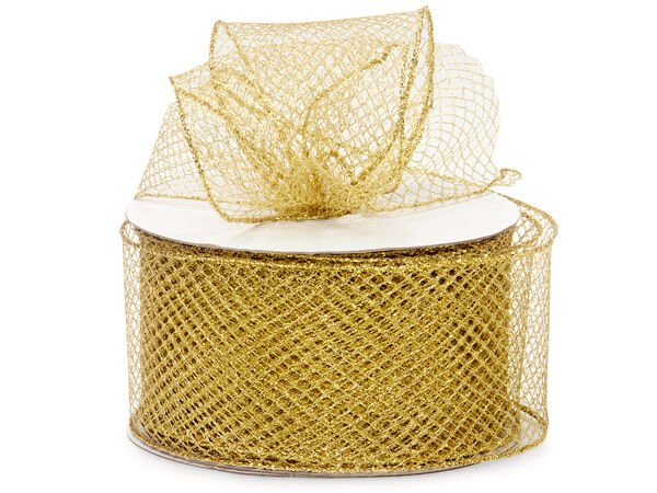 "Gold Diamond Pattern Mesh Wired Ribbon, 2-3/4""x25 yards"