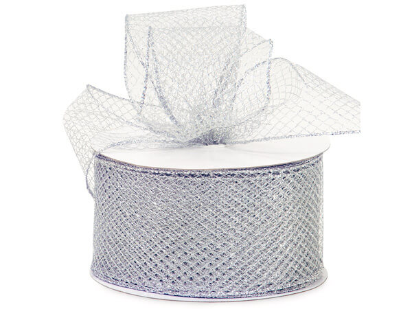 "Silver Diamond Pattern Mesh Wired Ribbon, 2-3/4""x25 yards"