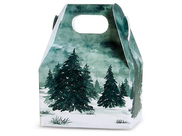 "Winter Pines Mini Gable Boxes, 4x2.5x2.5"", 6 Pack"