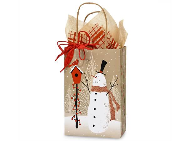 "Rose Woodland Snowman Paper Bags 250 5-1/2x3-1/4x8-3/8"""