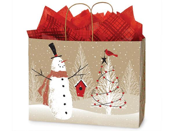 "Vogue Woodland Snowman Paper Bags 250 16x6x12"""