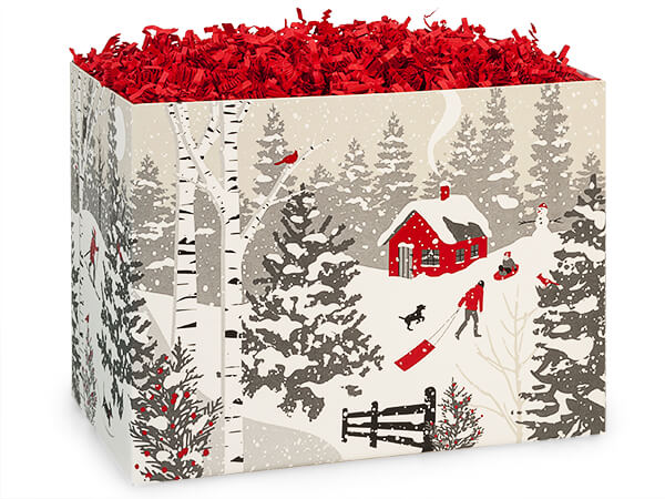 "Winter Snowday Basket Boxes Large 10.25x6x7.5"", 6 Pack"