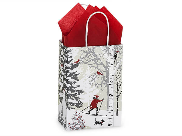 """Winter Snowday Shopping Bags, Rose, 5.5x3.25x8.5"""", 25 Pack"""
