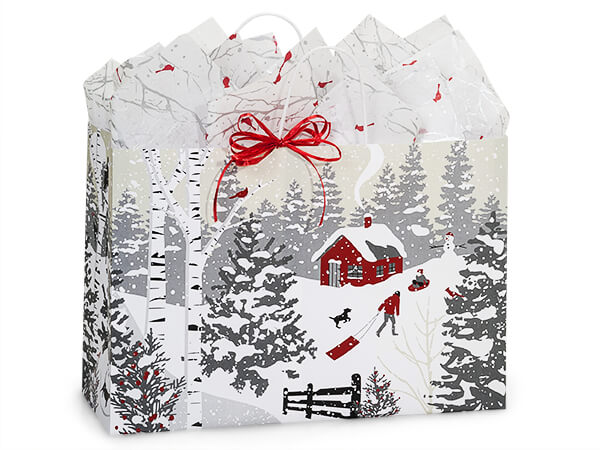"""Winter Snowday Shopping Bags, Vogue, 16x6x12"""", 25 Pack"""