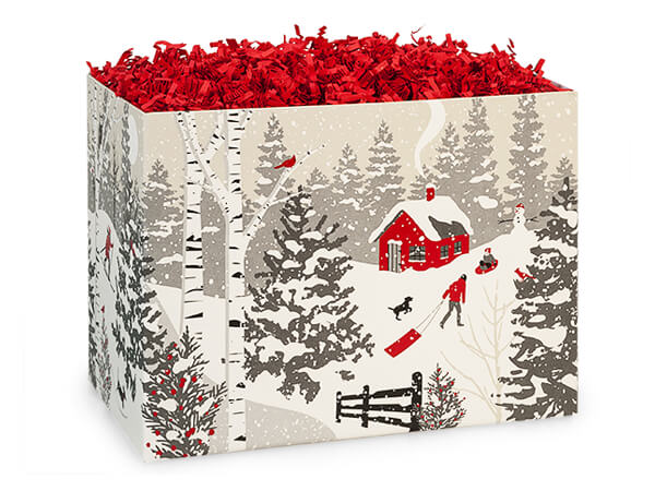 "Winter Snowday Basket Boxes Small 6.75x4x5"", 6 Pack"