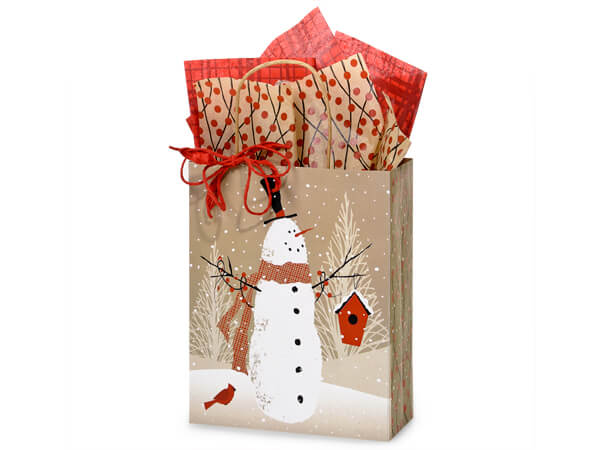 "Woodland Snowman Paper Shopping Bags, Cub 8x4.75x10.25"", 25 Pack"