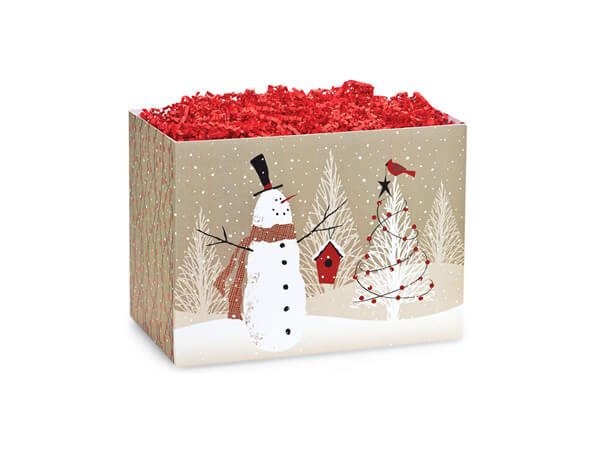 Small Woodland Snowman Basket Boxes 6-3/4x4x5""