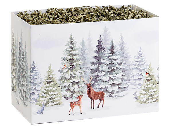 """Wintry Woods Basket Boxes, Large 10.25x6x7.5"""", 6 Pack"""
