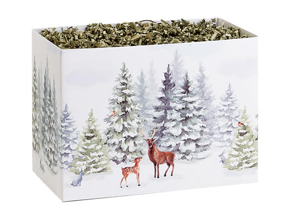 """Wintry Woods Basket Boxes, Small 6.75x4x5"""", 6 Pack"""
