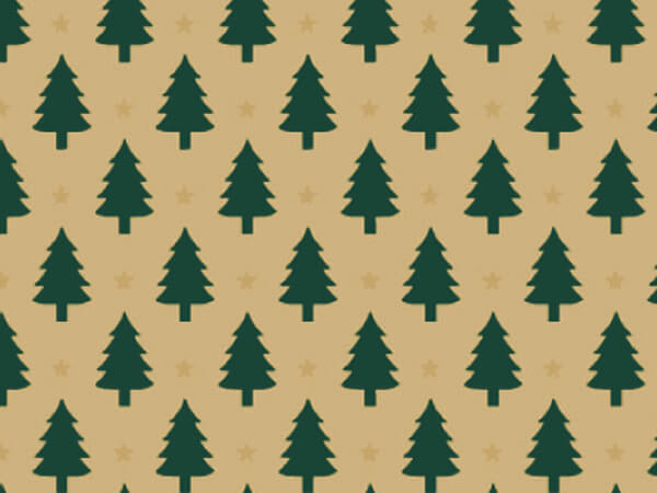 "Little Trees Gift Wrap 18""x417' Gift Wrap Half Ream Roll (Kraft)"