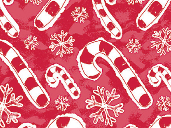 "Flakes & Candy Canes 30""x833' Gift Wrap Full Ream Roll"
