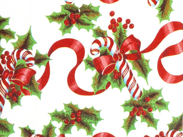 "Red Ribbons & Canes 30""x833' Gift Wrap Full Ream Roll"