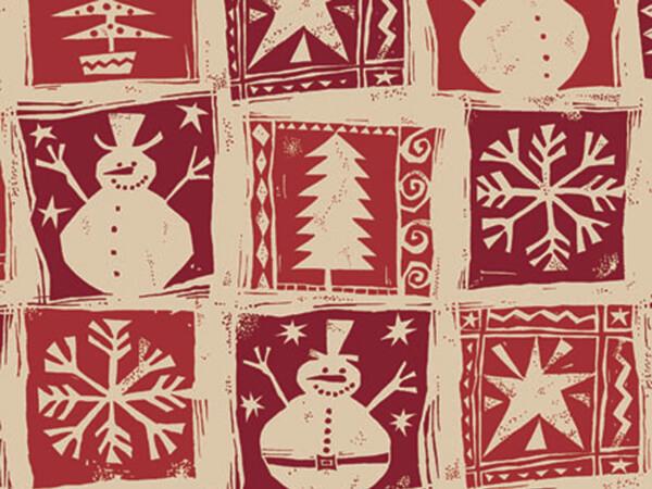 """Homespun Christmas 24""""x833' Gift Wrap Full Ream Roll (Kraft)"""