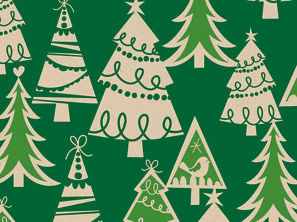 "Holiday Forest 24""x417' Gift Wrap Half Ream Roll (Kraft)"