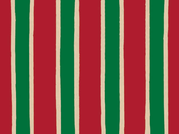 "Christmas Stripe 24""x833' Gift Wrap Full Ream Roll (Kraft)"