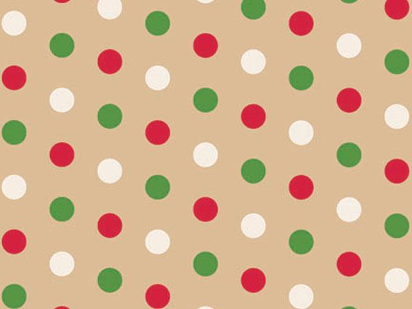 "Dotty Christmas 18""x833' Gift Wrap Full Ream Roll (Kraft)"