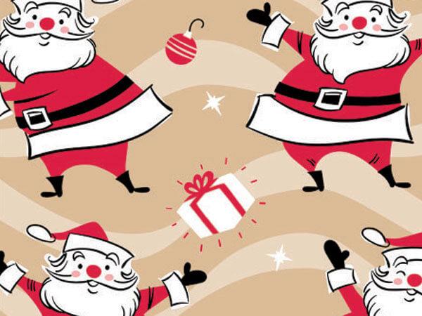 "Swingin Santa 24""x417' Gift Wrap Half Ream Roll (Kraft)"