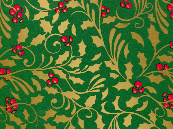"""Gold Holly Gift Wrap 30""""x417' Gift Wrap Half Ream Roll"""