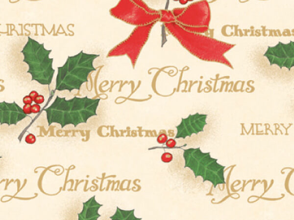 """Scripted Holly Gift Wrap 18""""x833' Gift Wrap Full Ream Roll"""