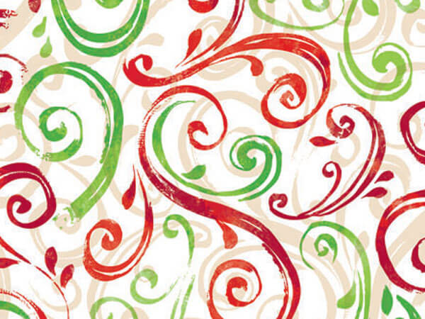 """Christmas Swirl Wrapping Paper 24""""x417', Half Ream Roll"""