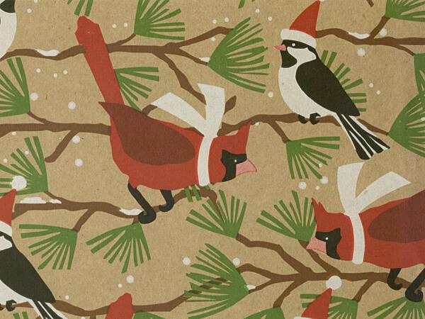 "Snowbirds Recycled Kraft 18""x417' Gift Wrap Half Ream Roll"