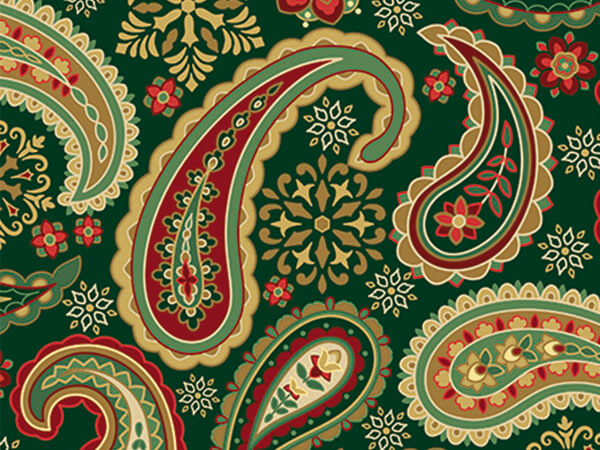"Holiday Paisley 18""x417' Gift Wrap Half Ream Roll"