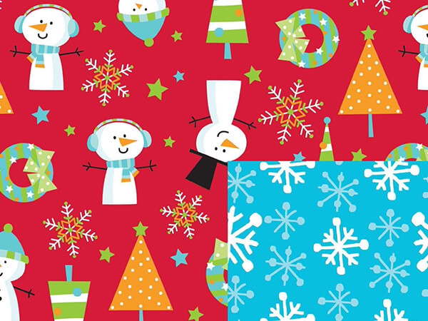 "Snow Buddies Reversible Gift Wrap 24""x417' Gift Wrap Half Ream Roll"