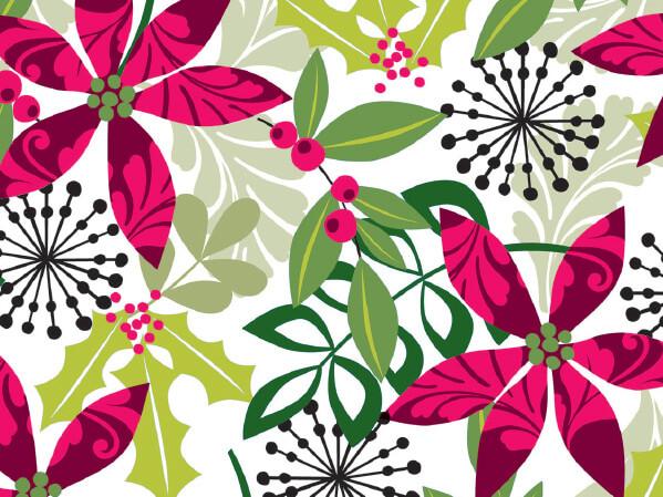 "Christmas Flora 24"" x 833' Full Ream Roll Gift Wrap"