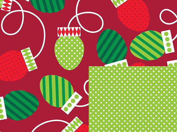 "Christmas Bulbs Reversible 24""x417' Gift Wrap Half Ream Roll"