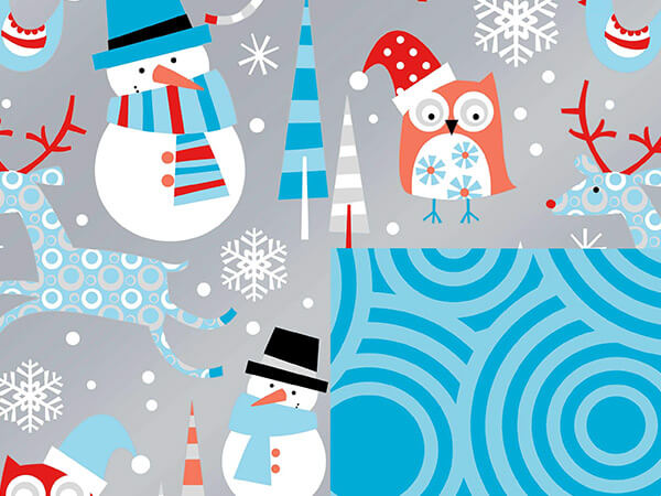 "Snowplay Reversible Gift Wrap 24""x100' Gift Wrap Roll"