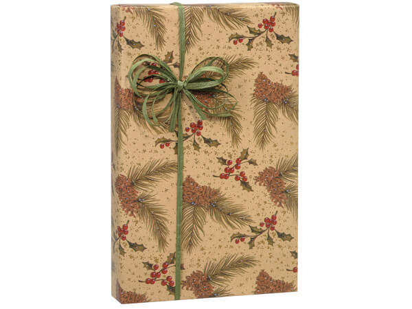 "Pine On Kraft Gift Wrap 36""x833' Gift Wrap Full Ream Roll"