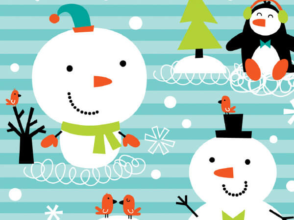 """Chilly Chums 24"""" x 417' Half Ream Roll Gift Wrap"""