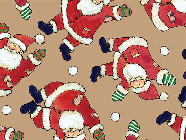 "Santa Celebration 18"" x 417' Half Ream Roll Gift Wrap (Kraft)"