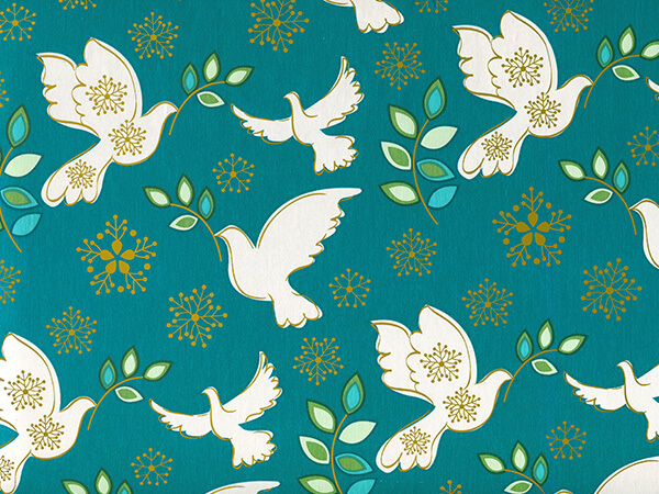 """Holiday Peace 24"""" x 417' Half Ream Roll Gift Wrap"""