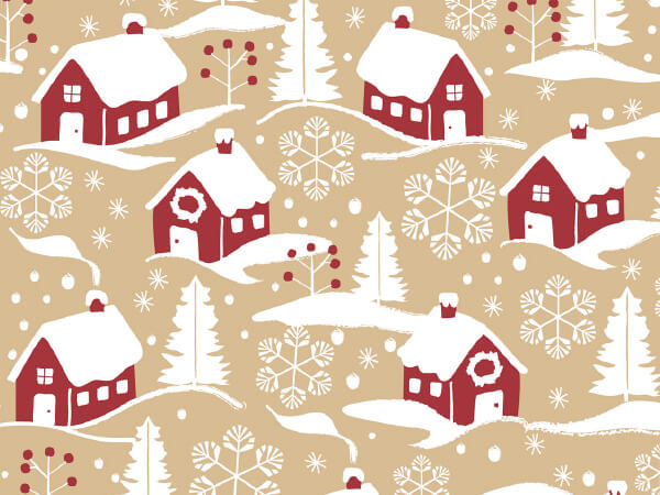 "Home For Christmas 24"" x 100' Cutter Box Gift Wrap (Kraft)"