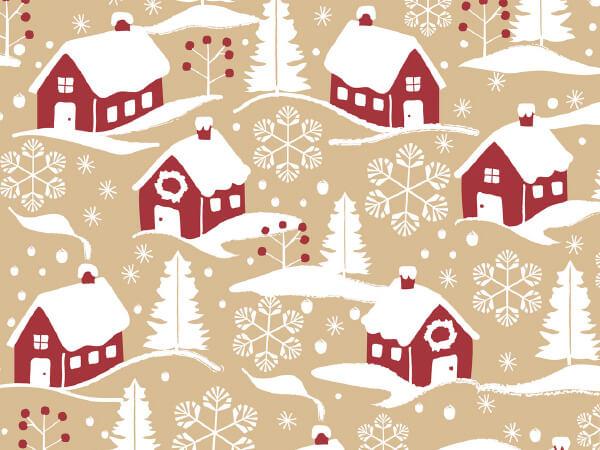 "Home For Christmas 18"" x 417' Half Ream Roll Gift Wrap (Kraft)"