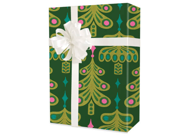 """Jeweled Trees Wrapping Paper 24""""x100', Cutter Box"""
