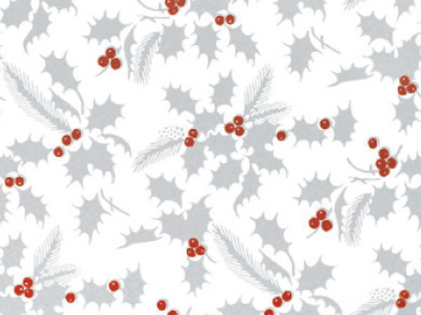 "Metallic White Holly 24""x417' Gift Wrap Half Ream Roll"