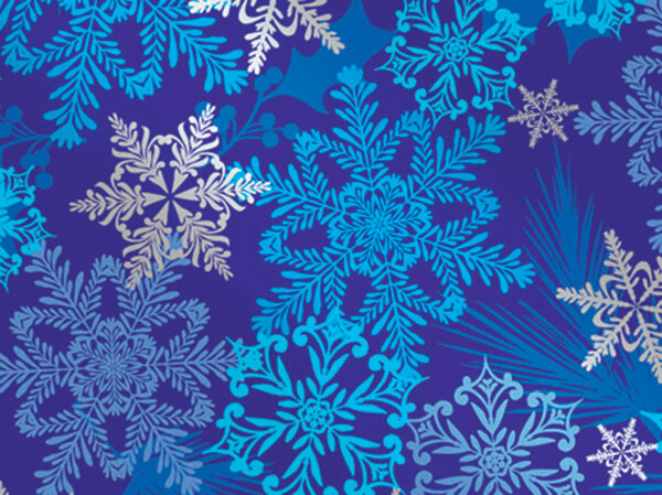 """Snowflake Swirl Wrapping Paper 24""""x417', Half Ream Roll"""
