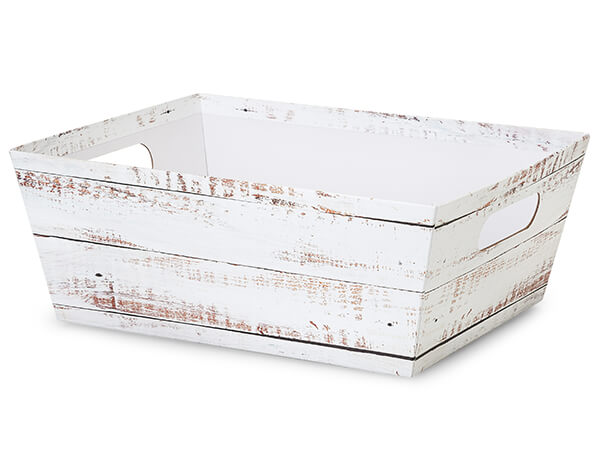 Distressed White Wood X-Large Wide Base Trays