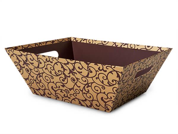 Elegant Chocolate Scroll Market Tray, X-Large, 3 Pack