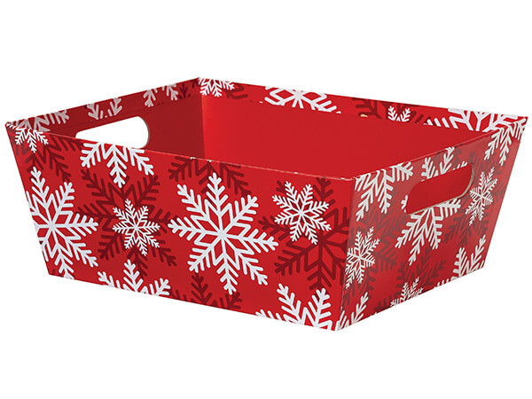 Red and White Snowflake X-Large Wide Base Trays