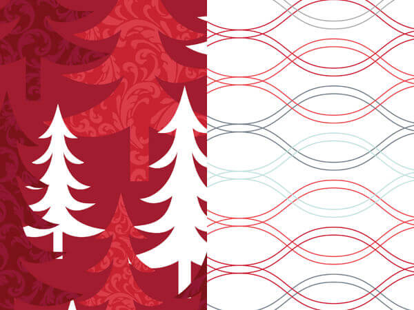 "Red Trees Reversible Wrapping Paper 24""x417' Roll"