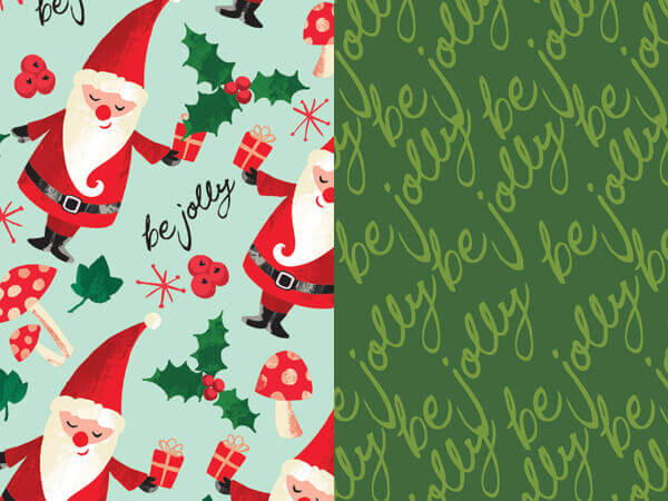 """Be Jolly Gnome Reverse Gift Wrap Roll, 24""""x 417'"""