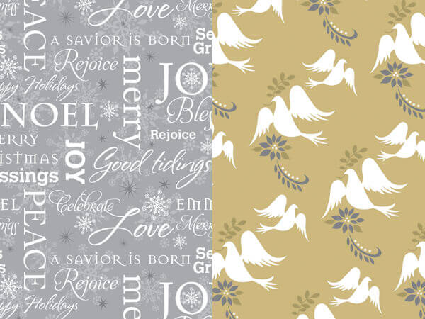 "*Inspirational Doves Reversible Gif Wrap, 24""x417' Roll"