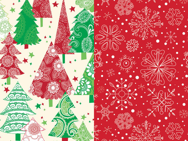 "Christmas Trees & Snowflakes Reverse Gift Wrap Roll, 24""x 417'"