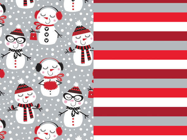 "Snowman Stripe Reversible Wrapping Paper, 24""x417' Roll"