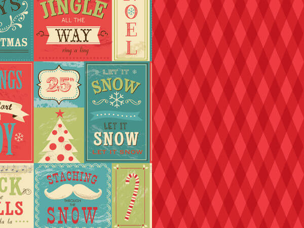 """*Christmas Signs & Argyle Reversibl Wrapping Paper, 24""""x417' Roll"""